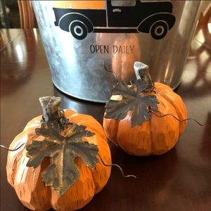 Carved Pumpkins with Metal Leaf and Vine